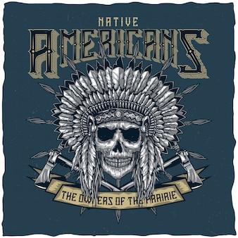 Cráneo del jefe indio americano con tomahawk. diseño de etiqueta de camiseta. dibujado a mano ilustración.