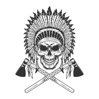 Cráneo jefe indio monocromo vintage