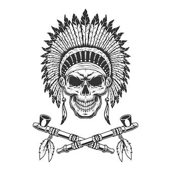 Cráneo jefe indio nativo americano vintage