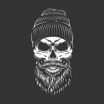 Cráneo de leñador monocromo vintage