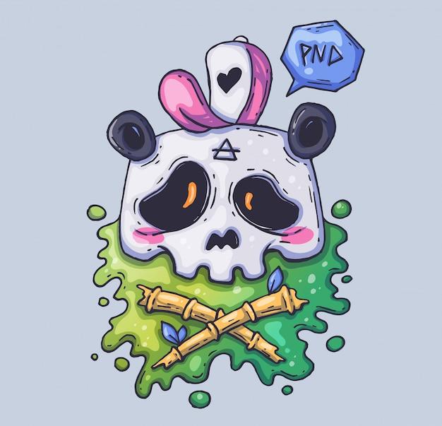 Cráneo lindo de la panda en un casquillo.