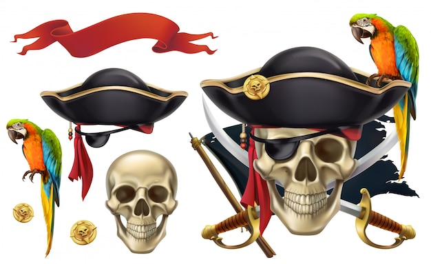 Cráneo y loro. emblemas piratas, signos piratas, conjunto de imágenes prediseñadas de vector