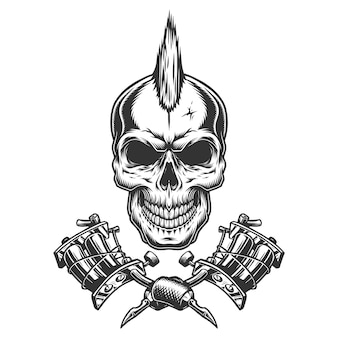 Cráneo maestro de tatuaje monocromo vintage