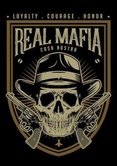 Cráneo de la mafia con emblema de pistolas.