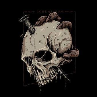Cráneo con mano y espiga