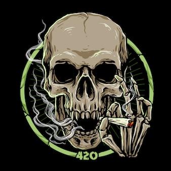 Cráneo de marihuana en la oscuridad
