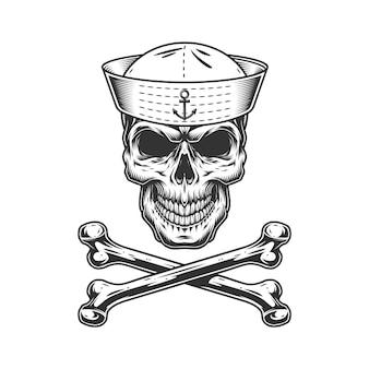 Cráneo marinero monocromo vintage