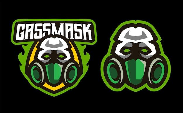 Cráneo con máscara de gas, logotipo de juego de mascota de esport