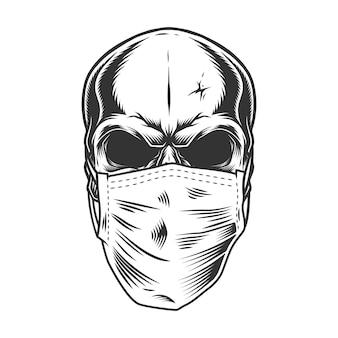 Cráneo en la máscara médica
