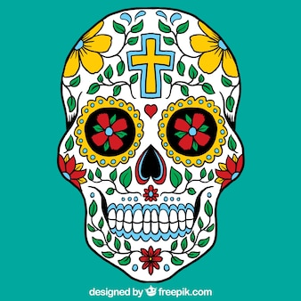 Cráneo mexicano colorido