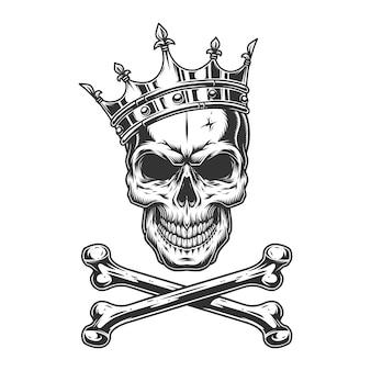 Cráneo monocromo vintage en corona real