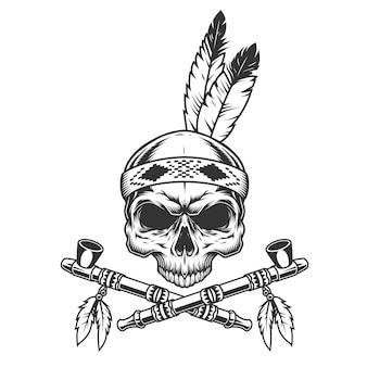 Cráneo monocromo vintage con plumas indias