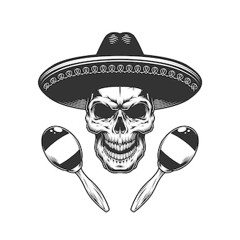 Cráneo monocromo vintage en sombrero hat