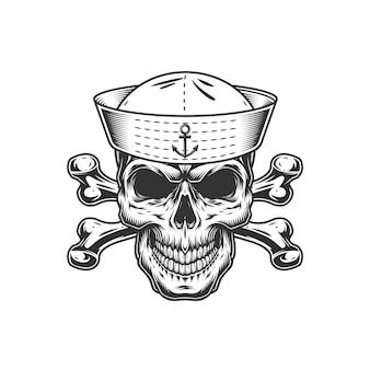 Cráneo monocromo vintage en sombrero de marinero