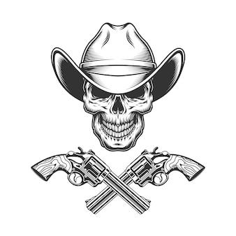 Cráneo monocromo vintage en sombrero de vaquero