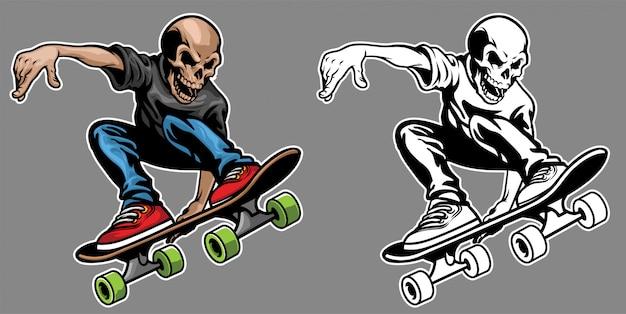Cráneo montando patineta y haciendo el truco