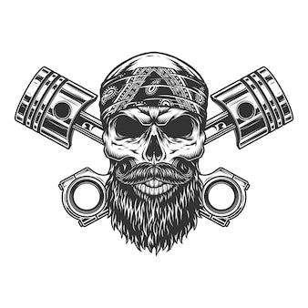 Cráneo de motero barbudo y con bigote
