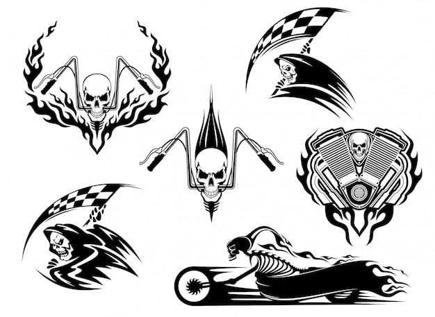 Cráneo, motocicleta y conjunto de iconos tribales