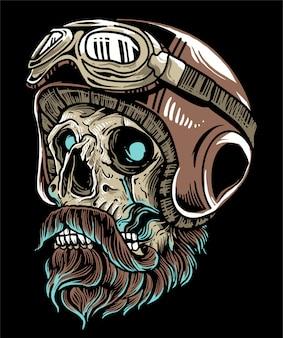 Cráneo de motociclista con casco y gafas con bigote de barba