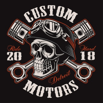Cráneo de motociclista con pistones cruzados. gráfico de la camisa. todos los elementos, colores, texto (curvos) están en la capa separada. (versión color)