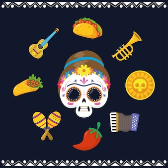 Cráneo de mujer mexicana y establecer iconos de estilo plano
