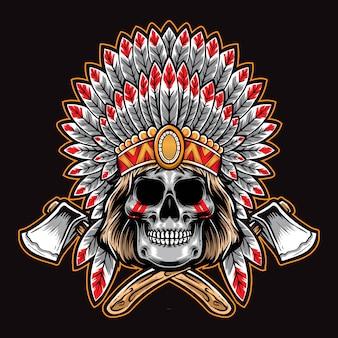 Cráneo nativo americano con hacha