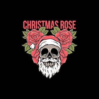 Cráneo de navidad con hermosa rosa roja plantilla vector premium