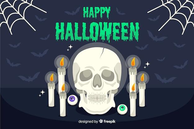 Cráneo ocultista y velas fondo de halloween