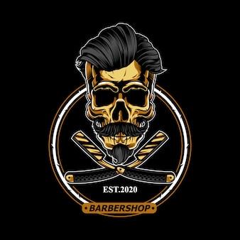 Cráneo de oro para el logotipo de la barbería