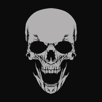 Cráneo en la oscuridad