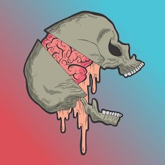 El cráneo se partió y su cerebro salió. vector de estilo dibujado a mano ilustraciones de diseño doodle.