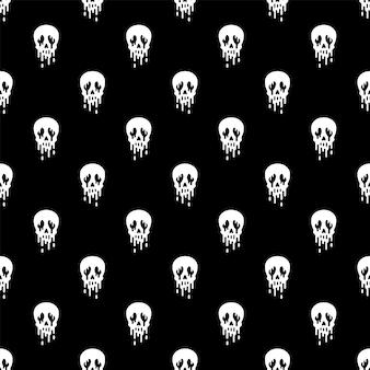 Cráneo de patrones sin fisuras halloween fantasma cartoo