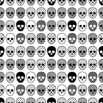Cráneo de patrones sin fisuras de halloween