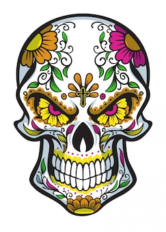 Cráneo con pintura de cara de dia de los muertos