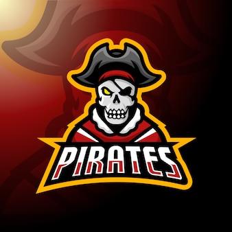 Cráneo pirata mascota logo.