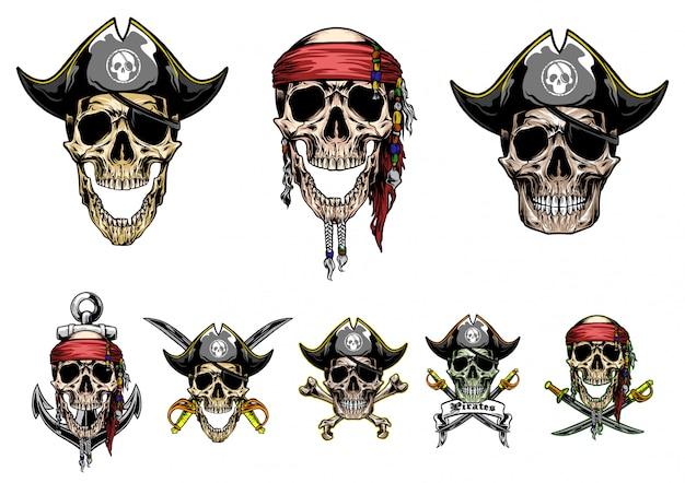 Cráneo piratas vector conjunto