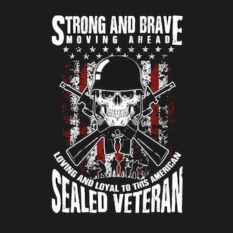 Cráneo y pistola veterano