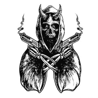 Cráneo con pistolas cruzadas ilustración en blanco y negro