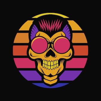 Cráneo puesta de sol retro ilustración vectorial