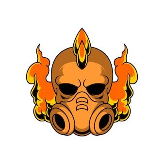 Cráneo punk con ilustración de máscara de gas