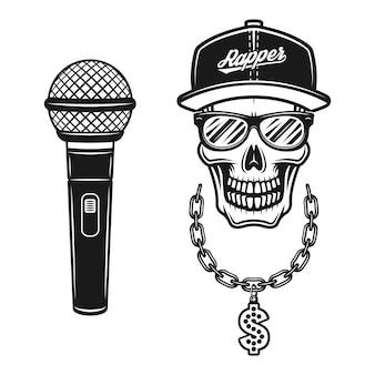 Cráneo de rapero en snapback, gafas de sol, cadena con signo de dólar y conjunto de micrófono de objetos vectoriales o elementos de diseño en estilo monocromo vintage aislado sobre fondo blanco.