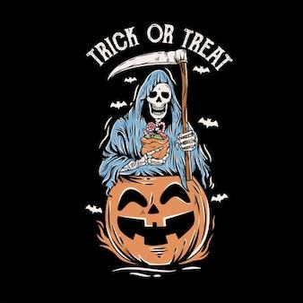 Cráneo de reaper sosteniendo dulces en la cabeza de calabaza de halloween