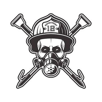 Cráneo en respirador y casco de bombero con dos ganchos cruzados ilustración en monocromo sobre fondo blanco.