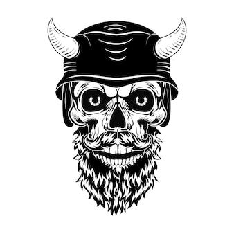 Cráneo retro en casco con ilustración de vector de cuernos. cabeza muerta monocromática con barba