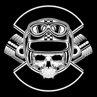 Cráneo retro con vector de dibujo a mano de casco