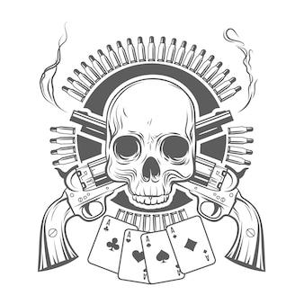 Cráneo, revólveres cruzados, tarjetas y cartuchos. ilustración vectorial