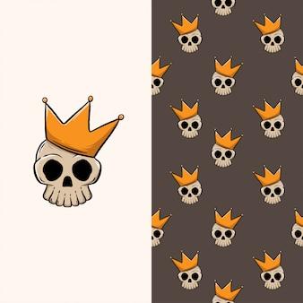 Cráneo rey dibujado a mano de patrones sin fisuras