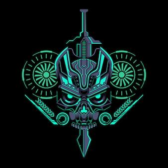 Cráneo robótico espada geométrica