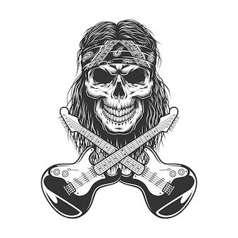 Cráneo de rockstar vintage en bandana
