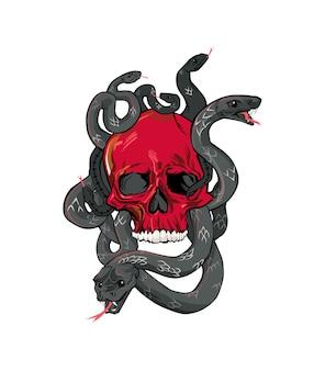 Cráneo rojo rodeado de serpientes